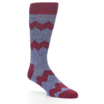 Image of Blue Red Zig Stripe Wool Men's Dress Socks (side-1-26)