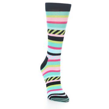Image of Black Bright Multi Stripe Women's Dress Socks (side-1-front-02)