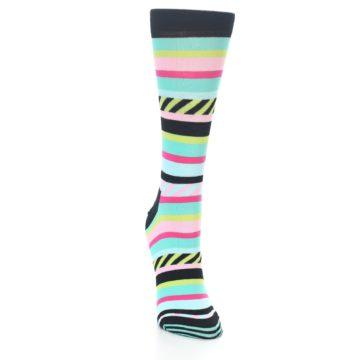 Image of Black Bright Multi Stripe Women's Dress Socks (side-1-front-03)