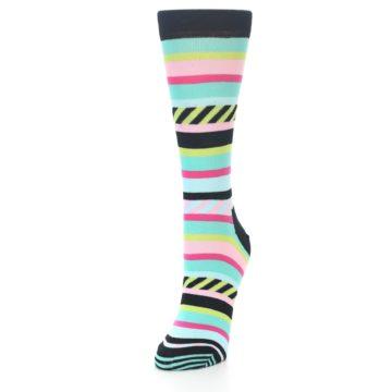 Image of Black Bright Multi Stripe Women's Dress Socks (side-2-front-07)
