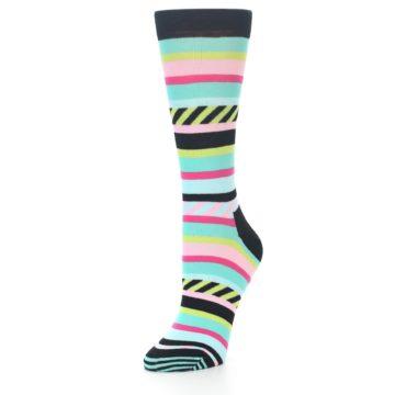 Image of Black Bright Multi Stripe Women's Dress Socks (side-2-front-08)