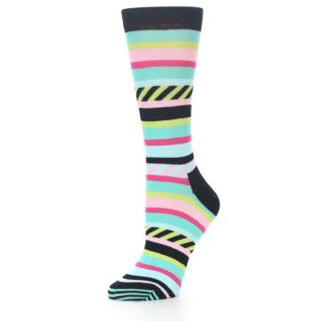 Image of Black Bright Multi Stripe Women's Dress Socks (side-2-09)