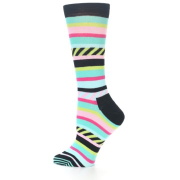 Image of Black Bright Multi Stripe Women's Dress Socks (side-2-12)