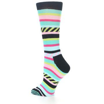 Image of Black Bright Multi Stripe Women's Dress Socks (side-2-13)