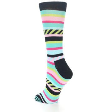 Image of Black Bright Multi Stripe Women's Dress Socks (side-2-back-14)