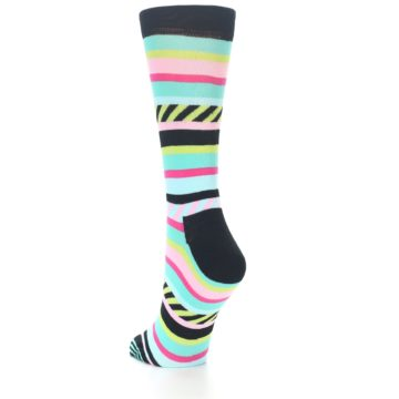 Image of Black Bright Multi Stripe Women's Dress Socks (side-2-back-15)