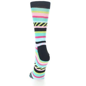 Image of Black Bright Multi Stripe Women's Dress Socks (side-2-back-16)