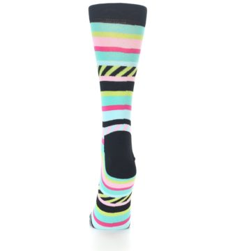 Image of Black Bright Multi Stripe Women's Dress Socks (back-17)
