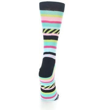 Image of Black Bright Multi Stripe Women's Dress Socks (back-19)