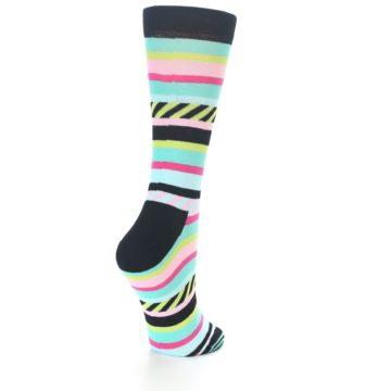 Image of Black Bright Multi Stripe Women's Dress Socks (side-1-back-21)