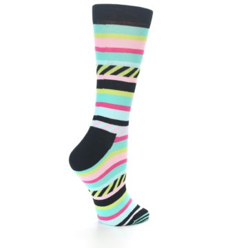 Image of Black Bright Multi Stripe Women's Dress Socks (side-1-back-22)