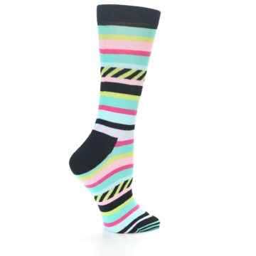 Image of Black Bright Multi Stripe Women's Dress Socks (side-1-23)