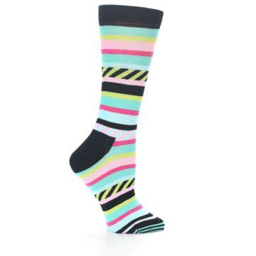 Image of Black Bright Multi Stripe Women's Dress Socks (side-1-24)