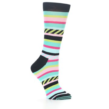 Image of Black Bright Multi Stripe Women's Dress Socks (side-1-25)