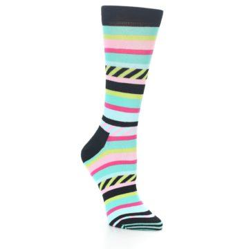 Image of Black Bright Multi Stripe Women's Dress Socks (side-1-27)