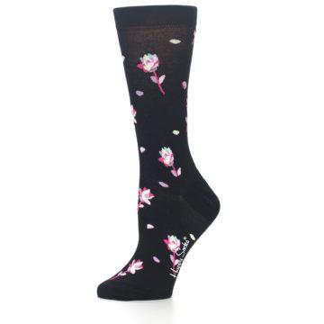 Image of Black Pink Rose Women's Dress Socks (side-2-10)