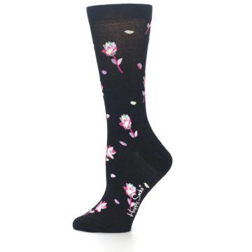 Image of Black Pink Rose Women's Dress Socks (side-2-11)