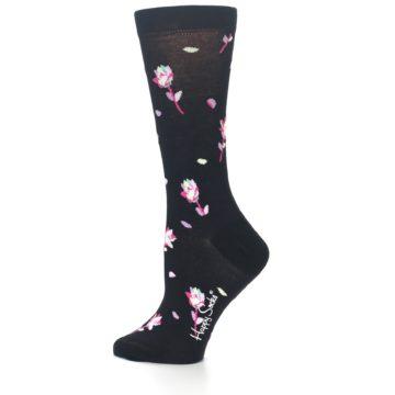 Image of Black Pink Rose Women's Dress Socks (side-2-12)