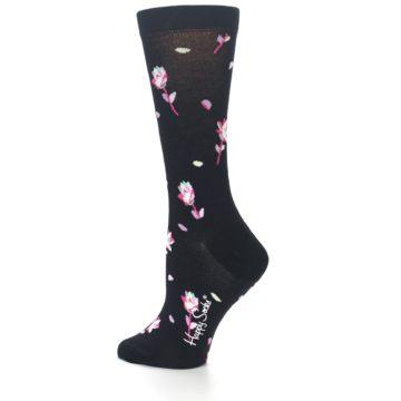 Image of Black Pink Rose Women's Dress Socks (side-2-13)