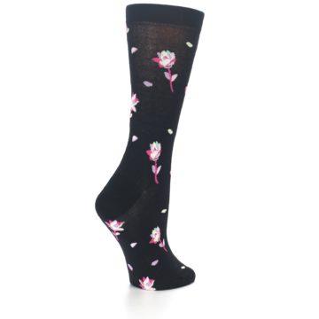 Image of Black Pink Rose Women's Dress Socks (side-1-back-22)