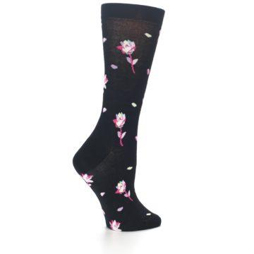 Image of Black Pink Rose Women's Dress Socks (side-1-23)