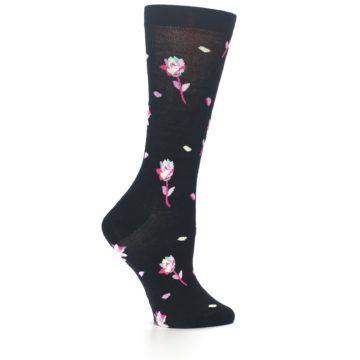 Image of Black Pink Rose Women's Dress Socks (side-1-24)