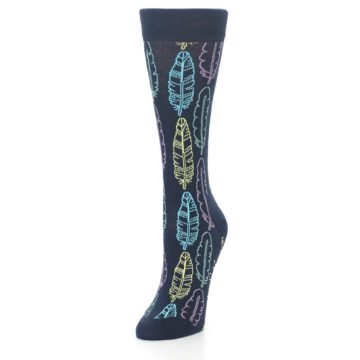 Image of Navy Feather Design Women's Dress Socks (side-2-front-07)