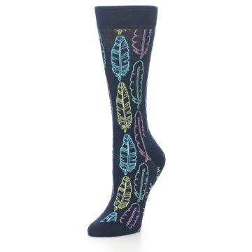 Image of Navy Feather Design Women's Dress Socks (side-2-front-08)