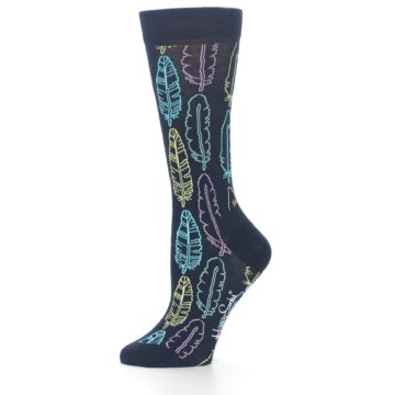 Image of Navy Feather Design Women's Dress Socks (side-2-10)