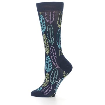Image of Navy Feather Design Women's Dress Socks (side-2-11)