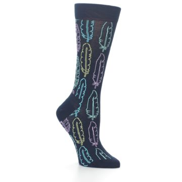 Image of Navy Feather Design Women's Dress Socks (side-1-26)