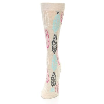Image of Light Tan Feather Design Women's Dress Socks (side-2-front-06)