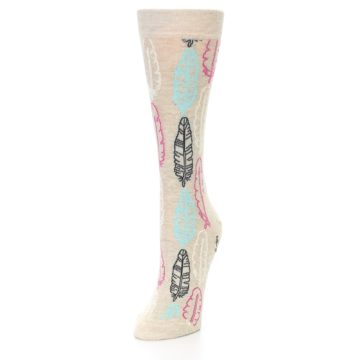 Image of Light Tan Feather Design Women's Dress Socks (side-2-front-07)