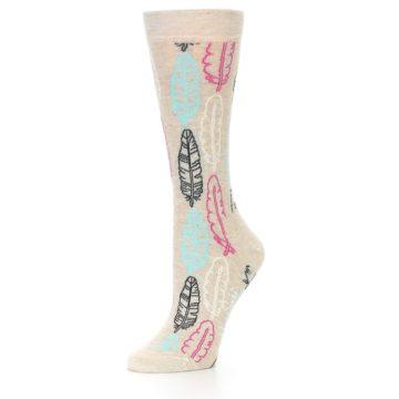 Image of Light Tan Feather Design Women's Dress Socks (side-2-09)