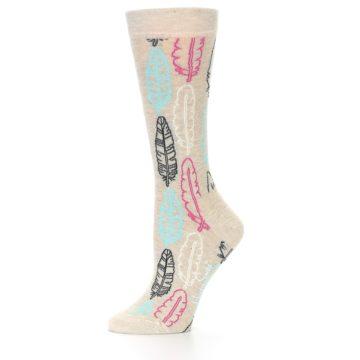 Image of Light Tan Feather Design Women's Dress Socks (side-2-10)