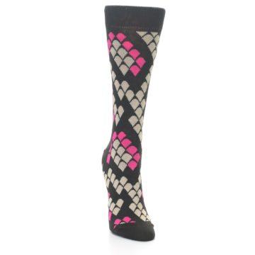 Image of Brown Pink Snake Skin Women's Dress Socks (side-1-front-03)