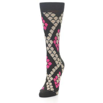Image of Brown Pink Snake Skin Women's Dress Socks (side-2-front-07)