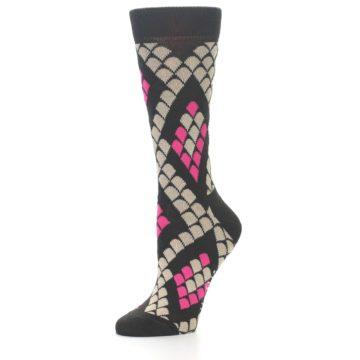 Image of Brown Pink Snake Skin Women's Dress Socks (side-2-09)