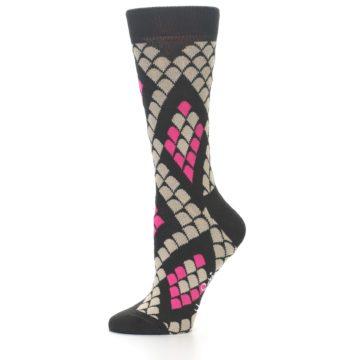 Image of Brown Pink Snake Skin Women's Dress Socks (side-2-10)