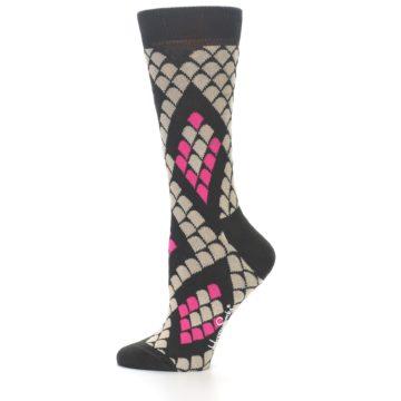 Image of Brown Pink Snake Skin Women's Dress Socks (side-2-11)