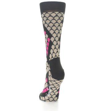 Image of Brown Pink Snake Skin Women's Dress Socks (side-2-back-16)
