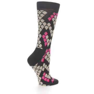 Image of Brown Pink Snake Skin Women's Dress Socks (side-1-back-22)