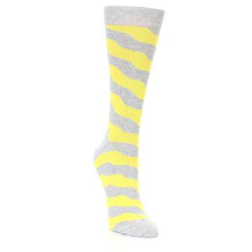 Image of Grey Yellow Wave Stripe Women's Dress Socks (side-1-front-02)