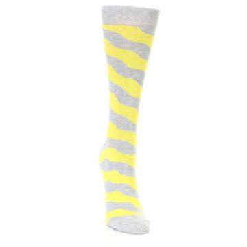 Image of Grey Yellow Wave Stripe Women's Dress Socks (side-1-front-03)