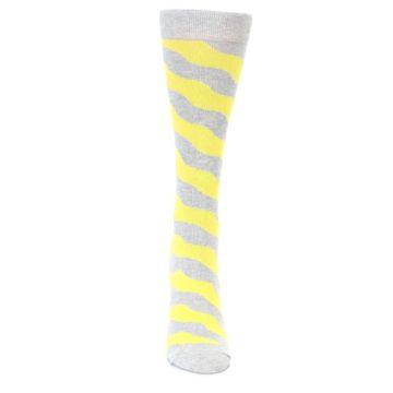 Image of Grey Yellow Wave Stripe Women's Dress Socks (front-04)