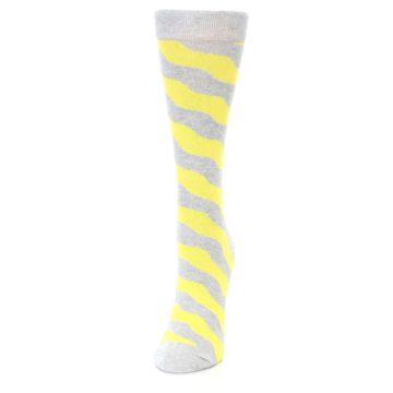 Image of Grey Yellow Wave Stripe Women's Dress Socks (side-2-front-06)
