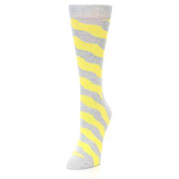 Image of Grey Yellow Wave Stripe Women's Dress Socks (side-2-front-07)