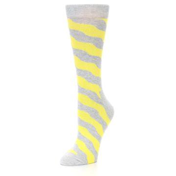 Image of Grey Yellow Wave Stripe Women's Dress Socks (side-2-front-08)