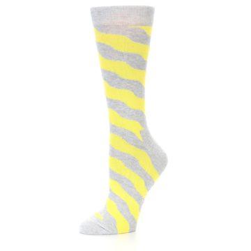 Image of Grey Yellow Wave Stripe Women's Dress Socks (side-2-09)