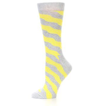 Image of Grey Yellow Wave Stripe Women's Dress Socks (side-2-10)